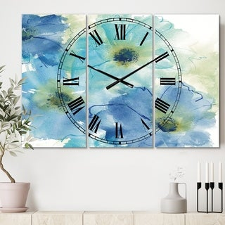 Designart 'Seashell Cosmos II' Cottage 3 Panels Oversized Wall CLock - 36 in. wide x 28 in. high - 3 panels