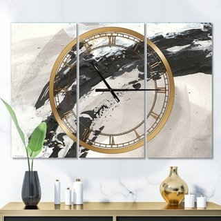Designart 'Glam Painted Arcs IV' Glam 3 Panels Oversized Wall CLock - 36 in. wide x 28 in. high - 3 panels