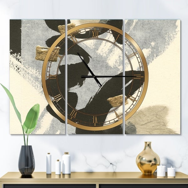 Designart 'Glam Collage II' Glam 3 Panels Oversized Wall CLock - 36 in. wide x 28 in. high - 3 panels