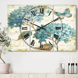 Designart 'butterfly Blue Garden I' Cottage 3 Panels Oversized Wall CLock - 36 in. wide x 28 in. high - 3 panels