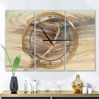 Designart 'Feather Natural elements' Glam 3 Panels Oversized Wall CLock - 36 in. wide x 28 in. high - 3 panels