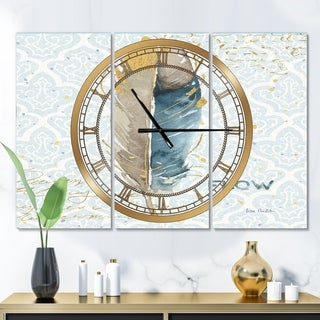 Designart 'Fields of Gold Watercolor Flower IV' Glam 3 Panels Oversized Wall CLock - 36 in. wide x 28 in. high - 3 panels