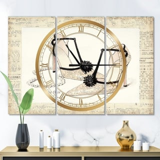 Designart 'Chic Galm Closet III' Glam 3 Panels Oversized Wall CLock - 36 in. wide x 28 in. high - 3 panels
