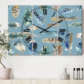 Designart 'Indigold Feathers Turquoise Pattern' Cottage 3 Panels Oversized Wall CLock - 36 in. wide x 28 in. high - 3 panels