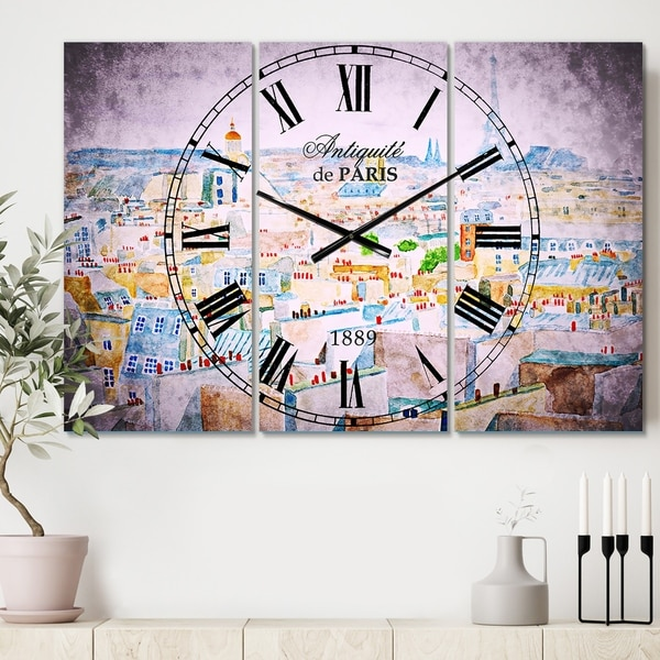 Designart 'City of Paris' Cottage 3 Panels Oversized Wall CLock - 36 in. wide x 28 in. high - 3 panels