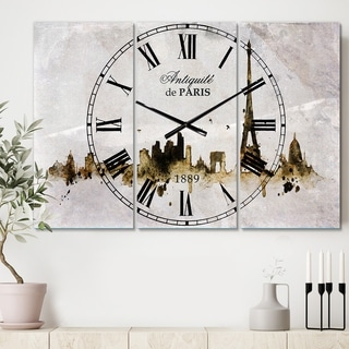 Designart 'Paris with Eiffel Silhouette' Cottage 3 Panels Large Wall CLock - 36 in. wide x 28 in. high - 3 panels
