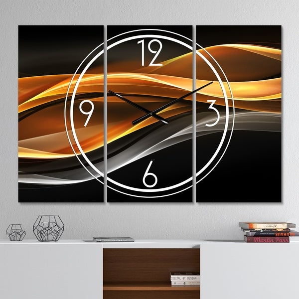 Designart 'Gold Silver Inward Lines' Modern 3 Panels Oversized Wall CLock - 36 in. wide x 28 in. high - 3 panels