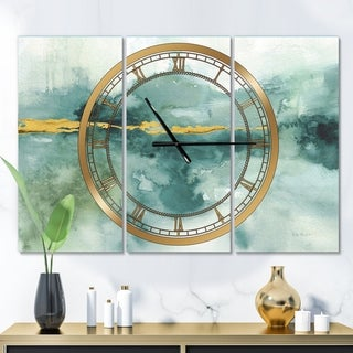 Designart 'Blue Watercolor Impression with Gold' Glam 3 Panels Oversized Wall CLock - 36 in. wide x 28 in. high - 3 panels