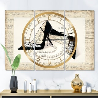 Designart 'Glamorous Black Diamond Stiletto I' Glam 3 Panels Oversized Wall CLock - 36 in. wide x 28 in. high - 3 panels