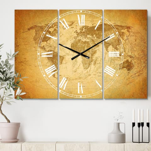 Designart 'Vintage Classic Map' Cottage 3 Panels Oversized Wall CLock - 36 in. wide x 28 in. high - 3 panels