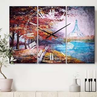 Designart 'Paris Eiffel Tower View in Fall' Cottage 3 Panels Large Wall CLock - 36 in. wide x 28 in. high - 3 panels