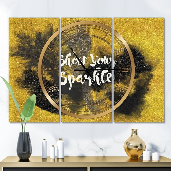 Designart 'Show Your Sparkle Quote Black on Gold' Glam 3 Panels Oversized Wall CLock - 36 in. wide x 28 in. high - 3 panels