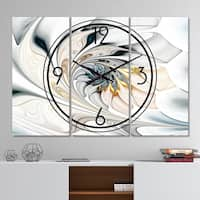 Designart 'White Stained Glass Floral Art' Modern 3 Panels Oversized Wall CLock - 36 in. wide x 28 in. high - 3 panels