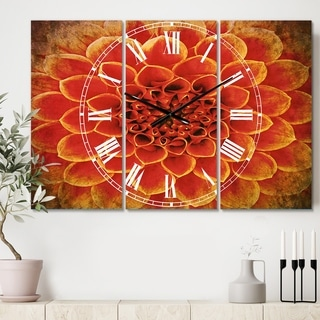 Designart 'Abstract Orange Flower Design' Cottage 3 Panels Large Wall CLock - 36 in. wide x 28 in. high - 3 panels