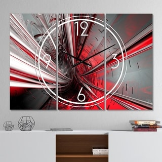 Designart 'Fractal 3D Deep into Middle' Modern 3 Panels Large Wall CLock - 36 in. wide x 28 in. high - 3 panels