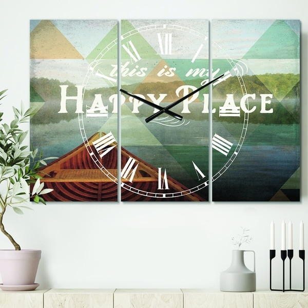 Designart 'Lake House Happy Quote' Cottage 3 Panels Oversized Wall CLock - 36 in. wide x 28 in. high - 3 panels