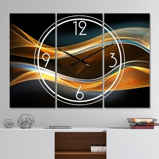 Designart '3D Gold Waves in Black' Modern 3 Panels Oversized Wall CLock - 36 in. wide x 28 in. high - 3 panels