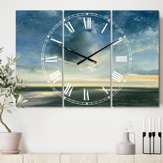 Designart 'Blue Coastal Sunrise' Cottage 3 Panels Oversized Wall CLock - 36 in. wide x 28 in. high - 3 panels