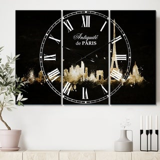 Designart 'Paris Dark Silhouette' Cottage 3 Panels Oversized Wall CLock - 36 in. wide x 28 in. high - 3 panels