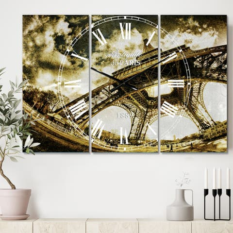 Designart 'Paris Eiffel Towerin Sunny Winter Morning' Cottage 3 Panels Oversized Wall CLock