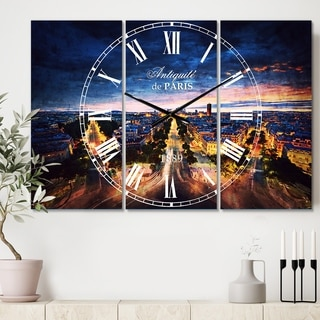 Designart 'Night Paris Amazing View' Cottage 3 Panels Large Wall CLock - 36 in. wide x 28 in. high - 3 panels