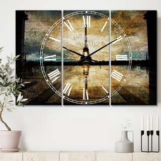 Designart 'Reflection of Paris Eiffel TowerWith Clouds' Cottage 3 Panels Large Wall CLock - 36 in. wide x 28 in. high - 3 panels