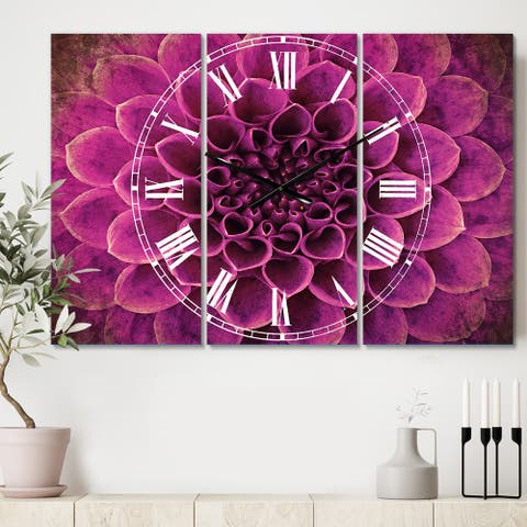 Designart 'Light Purple Abstract Flower Petals' Cottage 3 Panels Large Wall CLock - 36 in. wide x 28 in. high - 3 panels