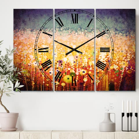 Designart 'Abstract Flower Field Watercolor Painting' Cottage 3 Panels Large Wall CLock - 36 in. wide x 28 in. high - 3 panels