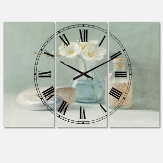 Designart 'Pastel Bath II' Cottage 3 Panels Large Wall CLock - 36 in. wide x 28 in. high - 3 panels