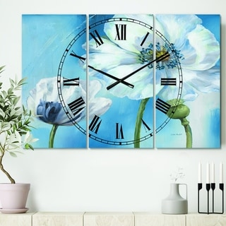 Designart 'White Flower on Blue I' Cottage 3 Panels Large Wall CLock - 36 in. wide x 28 in. high - 3 panels