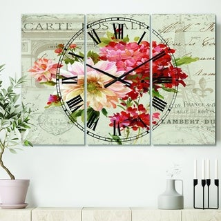 Designart 'Red Painted Flowers on Vintage Postcard III' Cottage 3 Panels Oversized Wall CLock