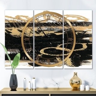 Designart 'Gold and Black drift III' Glam 3 Panels Large Wall CLock - 36 in. wide x 28 in. high - 3 panels