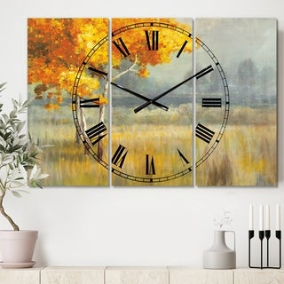 Designart 'Autumn Landscape' Cottage 3 Panels Oversized Wall CLock - 36 in. wide x 28 in. high - 3 panels
