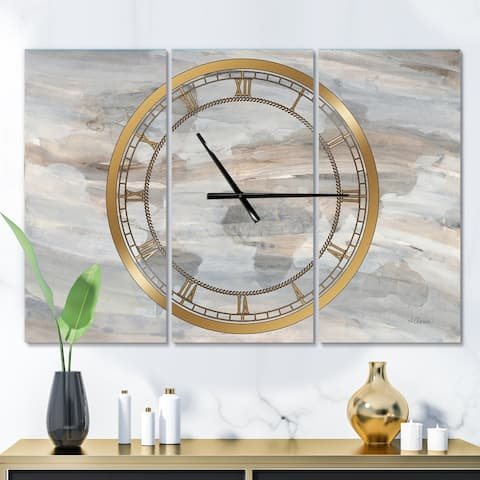 Designart 'Misty World Map' Glam 3 Panels Oversized Wall CLock - 36 in. wide x 28 in. high - 3 panels