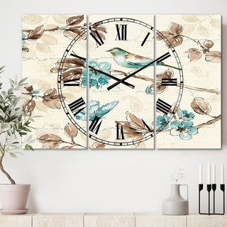 Designart 'Beige Bird Wings' Cottage 3 Panels Large Wall CLock - 36 in. wide x 28 in. high - 3 panels