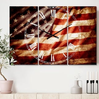 Designart 'American Flag' Cottage 3 Panels Oversized Wall CLock - 36 in. wide x 28 in. high - 3 panels