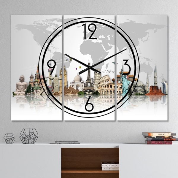Designart 'Famous Monuments Across World' Modern 3 Panels Oversized Wall CLock - 36 in. wide x 28 in. high - 3 panels