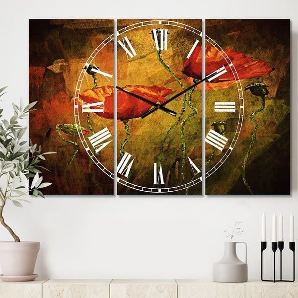 Designart 'Watercolor Poppy Flowers' Cottage 3 Panels Large Wall CLock - 36 in. wide x 28 in. high - 3 panels