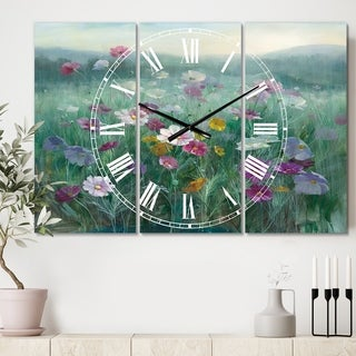 Designart 'Flower field' Cottage 3 Panels Large Wall CLock - 36 in. wide x 28 in. high - 3 panels