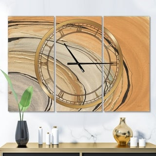 Designart 'Glam Canion II' Glam 3 Panels Oversized Wall CLock - 36 in. wide x 28 in. high - 3 panels