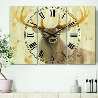 Designart 'Goldern Deer III' Cottage 3 Panels Large Wall CLock - 36 in. wide x 28 in. high - 3 panels