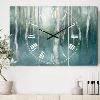 Designart 'Green Forest Dream' Cottage 3 Panels Large Wall CLock - 36 in. wide x 28 in. high - 3 panels
