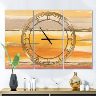 Designart 'Gilded Amber II' Glam 3 Panels Large Wall CLock - 36 in. wide x 28 in. high - 3 panels