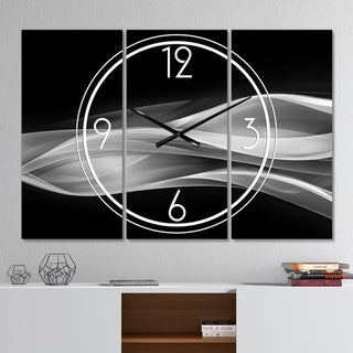 Designart 'Glittering Silver Pattern' Modern 3 Panels Oversized Wall CLock - 36 in. wide x 28 in. high - 3 panels