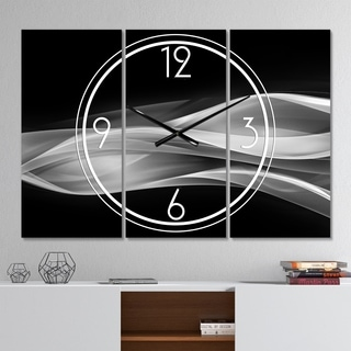 Designart 'Glittering Silver Pattern' Modern 3 Panels Oversized Wall CLock - 36 in. wide x 28 in. high - 3 panels