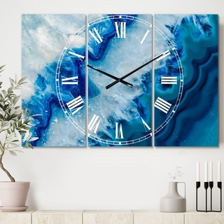 Designart 'Geode Slice Macro' Cottage 3 Panels Large Wall CLock - 36 in. wide x 28 in. high - 3 panels