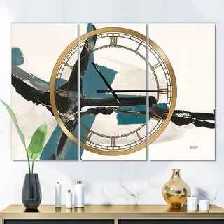 Designart 'Glam Cerulean I' Glam 3 Panels Oversized Wall CLock - 36 in. wide x 28 in. high - 3 panels