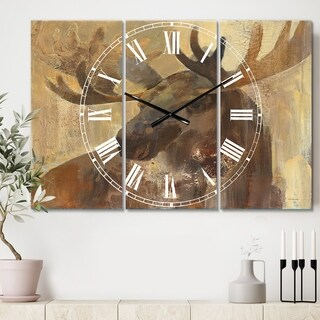 Designart 'Into the Wild Gold Moose' Cottage 3 Panels Large Wall CLock - 36 in. wide x 28 in. high - 3 panels