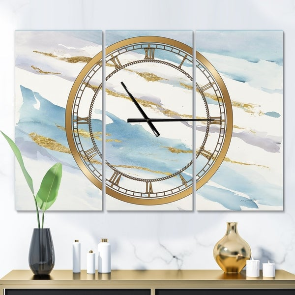 Designart 'Abstract Drift v2' Glam 3 Panels Oversized Wall CLock - 36 in. wide x 28 in. high - 3 panels