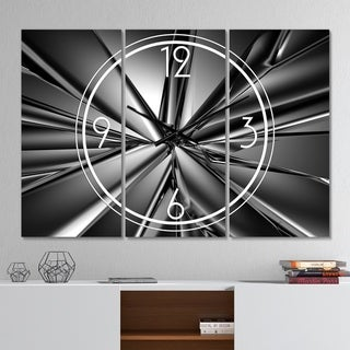Designart 'Futuristic Crystal Background' Modern 3 Panels Oversized Wall CLock - 36 in. wide x 28 in. high - 3 panels